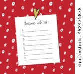 christmas wish list template.... | Shutterstock .eps vector #493475878