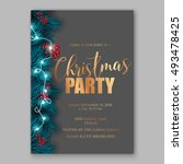 christmas party invitation... | Shutterstock .eps vector #493478425