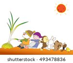 the harvest of onions. | Shutterstock .eps vector #493478836