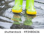 baby in green rubber boots... | Shutterstock . vector #493480636