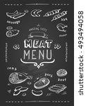 meat menu. beef  pork  chicken  ... | Shutterstock . vector #493494058