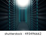 front view of server room.... | Shutterstock . vector #493496662