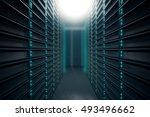front view of server room.... | Shutterstock . vector #493496662