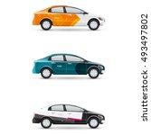 mockup of white passenger car.... | Shutterstock .eps vector #493497802