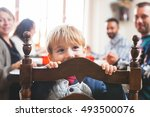 cute playful preschooler child... | Shutterstock . vector #493500076