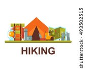 hiking  camping objects vector... | Shutterstock .eps vector #493502515