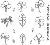 tree set different doodle of