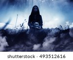 ghost girl with human skull in... | Shutterstock . vector #493512616