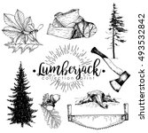 vector set of timber print... | Shutterstock .eps vector #493532842