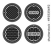 manhole sewer cover black... | Shutterstock .eps vector #493535692