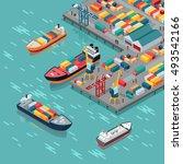 warehouse port vector.... | Shutterstock .eps vector #493542166