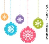 colorful christmas balls | Shutterstock .eps vector #493543726