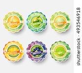 set of banana  green apple ... | Shutterstock .eps vector #493546918