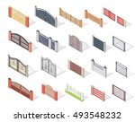 set of gates and fences vectors.... | Shutterstock .eps vector #493548232