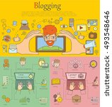 doodle line design of web... | Shutterstock .eps vector #493548646