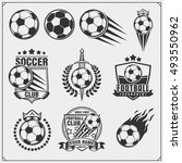soccer football labels  emblems ... | Shutterstock .eps vector #493550962
