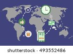 global e commerce concept... | Shutterstock .eps vector #493552486