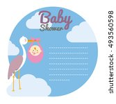 baby shower card. stork with... | Shutterstock .eps vector #493560598