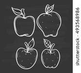 set of apple using doodle art...   Shutterstock .eps vector #493568986