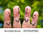 finger art of people during... | Shutterstock . vector #493569082