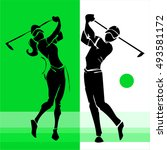 Hand Draw Silhouette Of Golf...