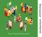 isometric fast food restaurant... | Shutterstock .eps vector #493591546
