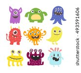cute monster color character... | Shutterstock .eps vector #493591606