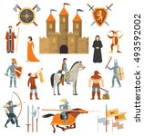 medieval isolated decorative... | Shutterstock .eps vector #493592002