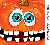 pumpkin smiling orange with... | Shutterstock .eps vector #493596862