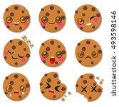 cute oat cookies. set of... | Shutterstock .eps vector #493598146