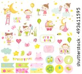 Cute Girl Scrapbook Set. Vecto...