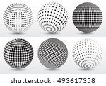 set of halftone sphere.halftone ... | Shutterstock .eps vector #493617358
