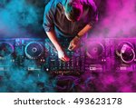 charismatic disc jockey at the... | Shutterstock . vector #493623178