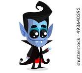 cute cartoon vampire. vector... | Shutterstock .eps vector #493640392