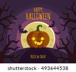 halloween pumpkin head jack... | Shutterstock .eps vector #493644538