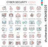 Vector Cyber security ultra modern color outline line icons for apps and web design.