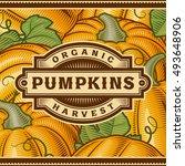 retro pumpkin harvest label | Shutterstock . vector #493648906