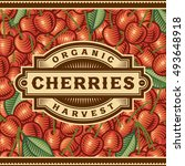 retro cherry harvest label   Shutterstock . vector #493648918