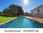 swimming pool of a private... | Shutterstock . vector #493650736