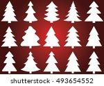christmas tree vector icon set... | Shutterstock .eps vector #493654552