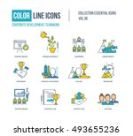 color line icons collection.... | Shutterstock .eps vector #493655236