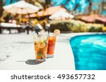 close up of mojito cocktail... | Shutterstock . vector #493657732