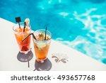 poolside symmetric cocktails... | Shutterstock . vector #493657768