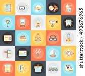 flat conceptual icons pack of... | Shutterstock .eps vector #493676965