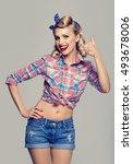 portrait of beautiful young... | Shutterstock . vector #493678006