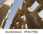 """The antique columns of the temple """"Karnak"""" in """"Luxor"""" in Egypt - stock photo"""