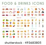 food and drink flat vector... | Shutterstock .eps vector #493683805