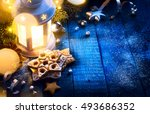 christmas background with... | Shutterstock . vector #493686352