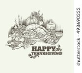 happy thanksgiving day vector... | Shutterstock .eps vector #493690222
