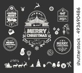 set of christmas and happy new... | Shutterstock .eps vector #493690486